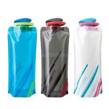 Foldable Reusable 750mL Sport Cycling Camping Water Bottle Bag BPA-Free w/ Hook
