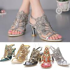 Womens Peacock High Heel Rhinestone Sandal Wedding Bride Evening Dress Shoes NEW