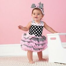 New Baby Girls Pageant Pink Black White Dress Polka Dot Layered Dress With Bow
