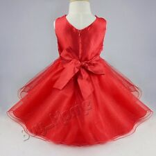 Red Girls Rose Flower Bow Wedding Bridesmaid Party Christening Dress SZ 12 Month
