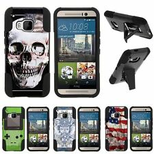 For HTC One M9| Hybrid Hard Bumper Stand Case USA Skull
