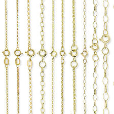 9CT SOLID GOLD 16 18 20 22 24 28 OVAL ROUND D/C BELCHER ROPE POW CHAIN NECKLACE