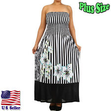 (PLUS SIZE) Women's Floral Stripe Print Strapless Maxi Dress Skirt 4000LX-FLR_Y