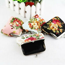 Women MINI Flower Small Coin Change Purse Hasp Canvas Clutch Small Wallet Bags