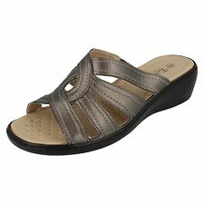 SALE Eaze F3114 Ladies Pewter Synthetic Slip On Casual Comfort Sandals