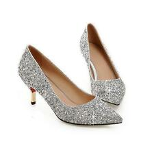 Womens wedding heels Kitten Heel Pointy Toe Classic Pumps Sequins Slip on Shoes