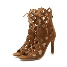Womens lace-up high heels summer sandals pumps stiletto gladiator dress shoes sz