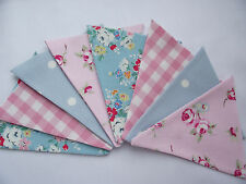 Handmade Fabric Bunting Cath Kidston Laura Ashley Pink Gingham Floral Blue Spot