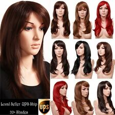 Top Grade Synthetic Hair Full Head Wig Natural Black Brown Blonde Costume Wigs H
