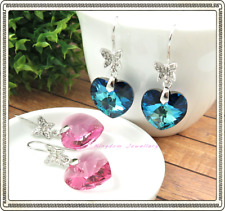 925 Sterling Silver Butterfly & Heart Earrings made with Swarovski Crystals