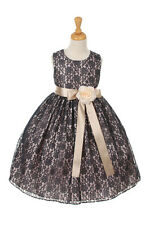 New Flower Girl Dress Two Toned Lace Navy Easter Christmas Pageant Wedding