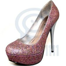 Womens High Heels Pink Fuchsia Glitter Pump Platform Stiletto Sexy Party Shoes