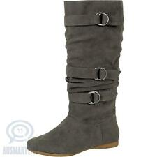 Grey Knee High Fashion Ladies Winter Boots Flat Low Heels Calf Belts Faux Suede