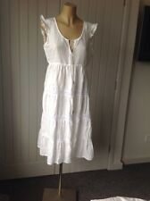 PEPE JEANS Ladies White Linen Summer Dress Size L UK 12 Boho Hippy Peasant Beach