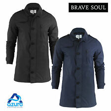 Mens Brave Soul Cossack Jacket | Mac Trench Coat Military Double Breasted Belt C