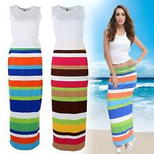 Womens Summer 2 Two Piece Cropped Top and Midi Bodycon Skirt Ladies Dress Set