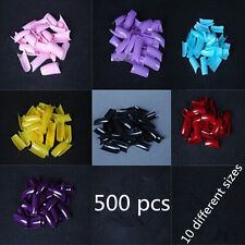 500pcs Colored French False Nails Acrylic UV Gel Tips Nail Art Accessories Tools