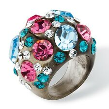 PalmBeach Jewelry Crystal Ring MADE WITH SWAROVSKI ELEMENTS Gray Lucite