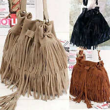 Women Ladies Leather Tassel Bucket Handbag Shoulder Bag Crossbody Messenger Bag