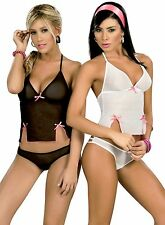 7017 Lady Sexy Black Baby Doll Teddy Lace LINGERIE Thong G-STRING S M L XL