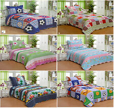 Kids Twin Size 2 Piece Printed Quilt Coverlet Pillow Sham Set For Boys Girls