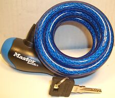 6 Ft. MASTER LOCK INTEGRATED LOCK & CABLE w ONE KEY COLOR: BLACK OR BLUE NEW