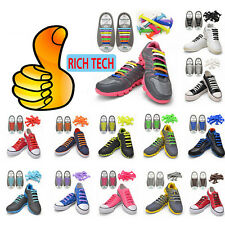 12PCS Set No Tie Shoelaces Easy Tie Elastic Silicone Shoe Laces Canvas Sneakers