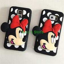 Lovely cartoon Polka Dot Bow Minnie Rubber Case Cover for Samsung Galaxy S6 S5