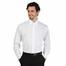 Brooks Brothers Mens Bianco Long Sleeve Plain Slim Fit Formal Shirt