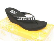 New Yellow Box HAZZEL Clear Women Wedge Flip Flop Sparkling Crystal Jewels