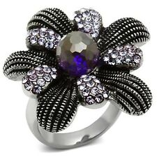 Synthetic Glass High Polish Stainless Steel Ring