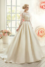 New Ivory Wedding Dress Floral Lace 3/4 Sleeve Chapel Train Bridal Gown Dress