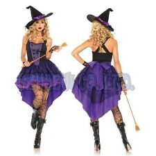 Women adult Sexy Purple witch Lady Fancy Dress Halloween Cosplay Costume Outfit