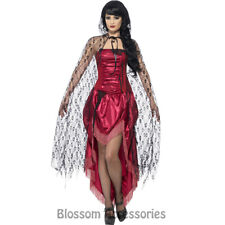 A779 Gothic Lace Cape Womens Halloween Vampire Gothic Witch Fancy Dress Costume