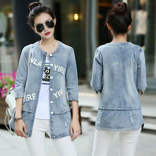 Spring Fashion Lady Coat Denim Jean 3/4 Sleeve button Jacket Parka Slim