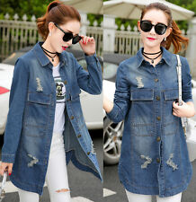 Women's Cotton Lapel Jeans Denim Jacket Fashion Trench Coat Parka Slim