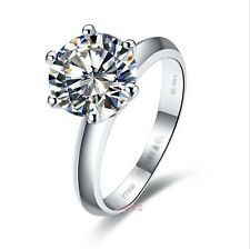2 Carat Round Prong Setting Diamond Engagement Wedding Ring Sterling Silver NSCD