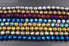 Natural Hematite Gemstone Faceted Round Beads Metallic Multi-Color Silver 15.5''