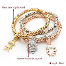 3PCS Girls Charm Bracelets Bangles Gold/Silver Plated Friendship Bracelets