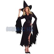 Adult Women Fancy Dress Sexy black witch Ladies Cosplay Costume Halloween Outfit