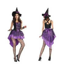 Women Fancy Dress Sexy purple witch Ladies Cosplay Costume Halloween Outfit maid