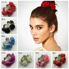 Women Flower Scrunchie Bun Garland Floral Head Knot Hair Top Band Elastic Bridal