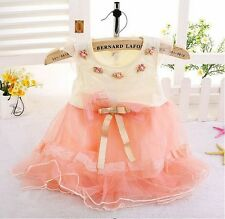 New Baby Girls Princess Party Dress Floral Bowknot Lace Chiffon Toddler Dress