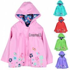 School Children Girls Waterproof Hooded Rain Coat Outwear Poncho Raincoat LM