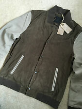 """ALL SAINTS MEN'S SOFT SUEDE LEATHER """"DELTA"""" MORTAR BOMBER JACKET - XL - NEW TAGS"""