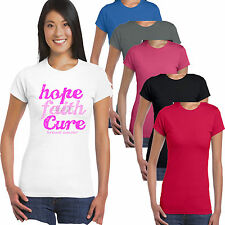 Faith Breast Cancer Pink Ribbon Charity Race For Life Ladies T shirt S-2XL