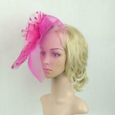 Retro Flower Dot Feather Mesh Fascinator Cap on Clip Birdcage Cocktail Head Wear