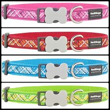 Red Dingo Flanno Patterened Nylon Dog COLLAR - Choice of Colours and Sizes