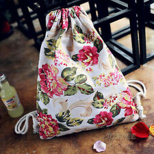 Fashion Womens Girl Floral Canvas Backpack Travel Drawstring Backpack School Bag