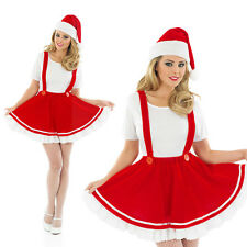 Ladies Christmas Gnome Fancy Dress Costume Santas Helper Xmas Elf Outfit UK 8-30
